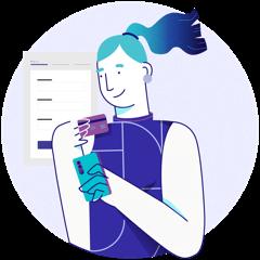 Ilustração de usuária aprendendo sobre finanças